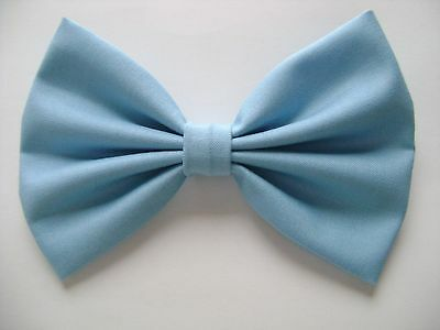 NEW FABRIC HAIR BOW W/ Alligator Clip * LIGHT BLUE * Handmade* FREE SHIPPING ***