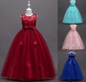 Fashion Kid Girl Princess Dress Children Pageant Wedding Bridesmaid Party Dressy