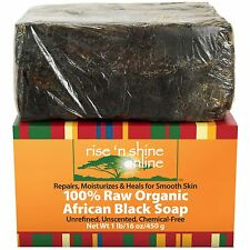 (16 oz) Raw African Black Soap with Coconut Oil and Shea Butter - from Ghana