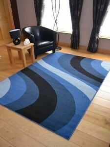 Image Is Loading New Modern Denim Blue Wave Floor Runners Small