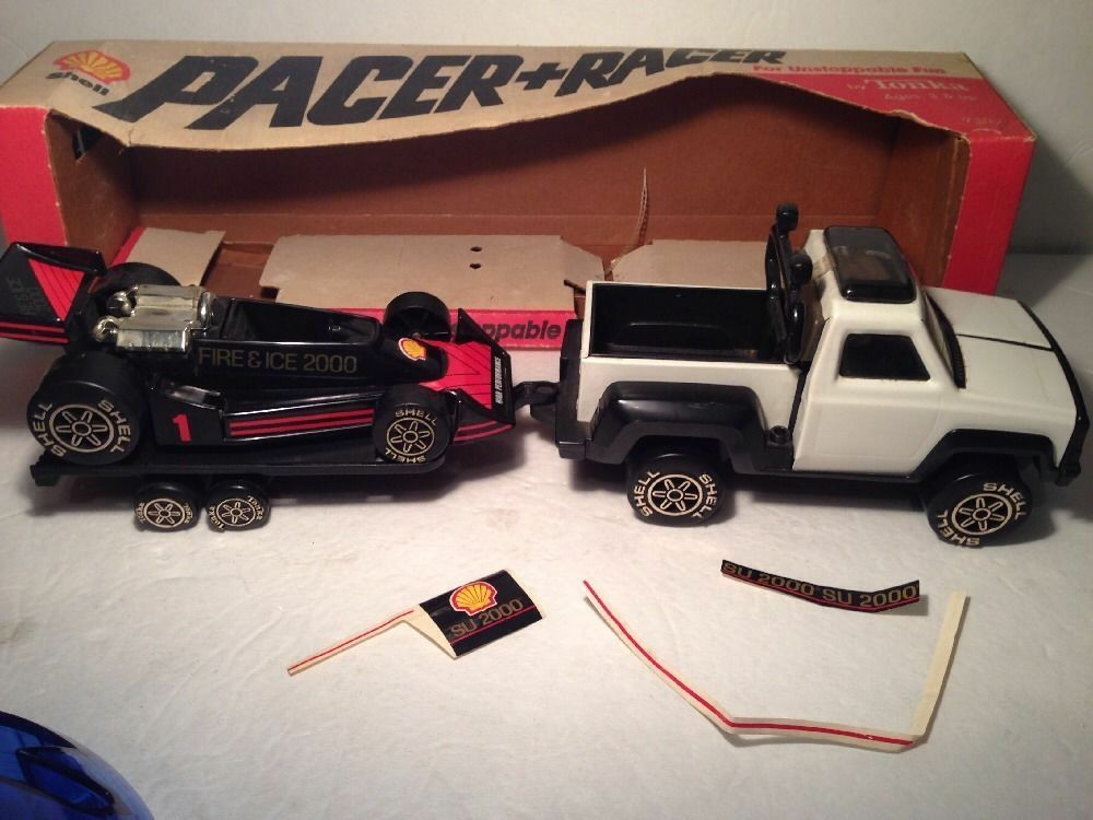TONKA VINTAGE SHELL Pacer Car Rare Transporter (Complete all 3 pieces) with box