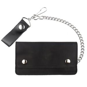 Trucker-Biker-Chain-Wallet-Soft-Leather-Bifold-Black-Oil-Tanned-7-034-USA-Made