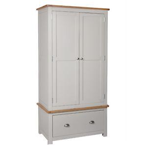 Sutton-Painted-Grey-Oak-2-door-Solid-Double-Wardrobe-Oak-Drawer-Bedroom-New