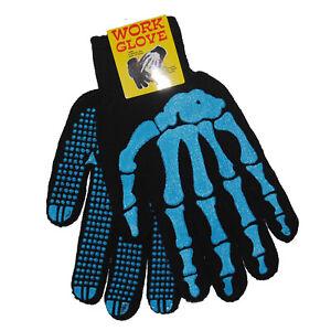 Gothic-Horror-Punk-80s-Goth-Misfit-Blue-Skeleton-Bones-Mens-Black-Work-Gloves