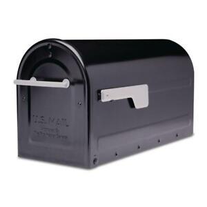 Architectural-Post-Mount-Mailbox-Black-Premium-Silver-Handle-Flag-Boulder-NEW