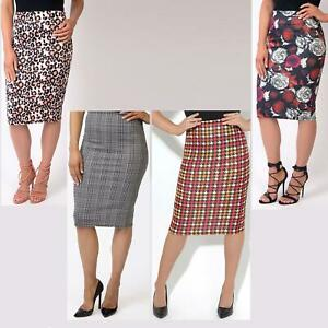 Womens-Midi-Pencil-Skirt-Bodycon-Ladies-Stretch-Fit-Printed-Knee-Long-Work-Party