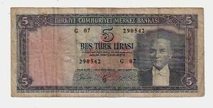 Turchia-Turkey-5-lire-1930-MB-Poor-pick-154-lotto-1547