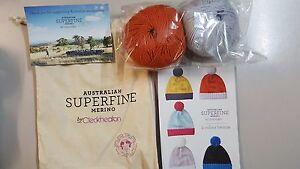 Cleckheaton-Superfine-Merino-Beanie-Kit-2-Iceburg-amp-Orange-Includes-Wool