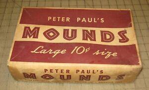 Vintage PETER PAUL'S MOUNDS Lg 10c Size Empty Brown Retail Box - Barn Fresh