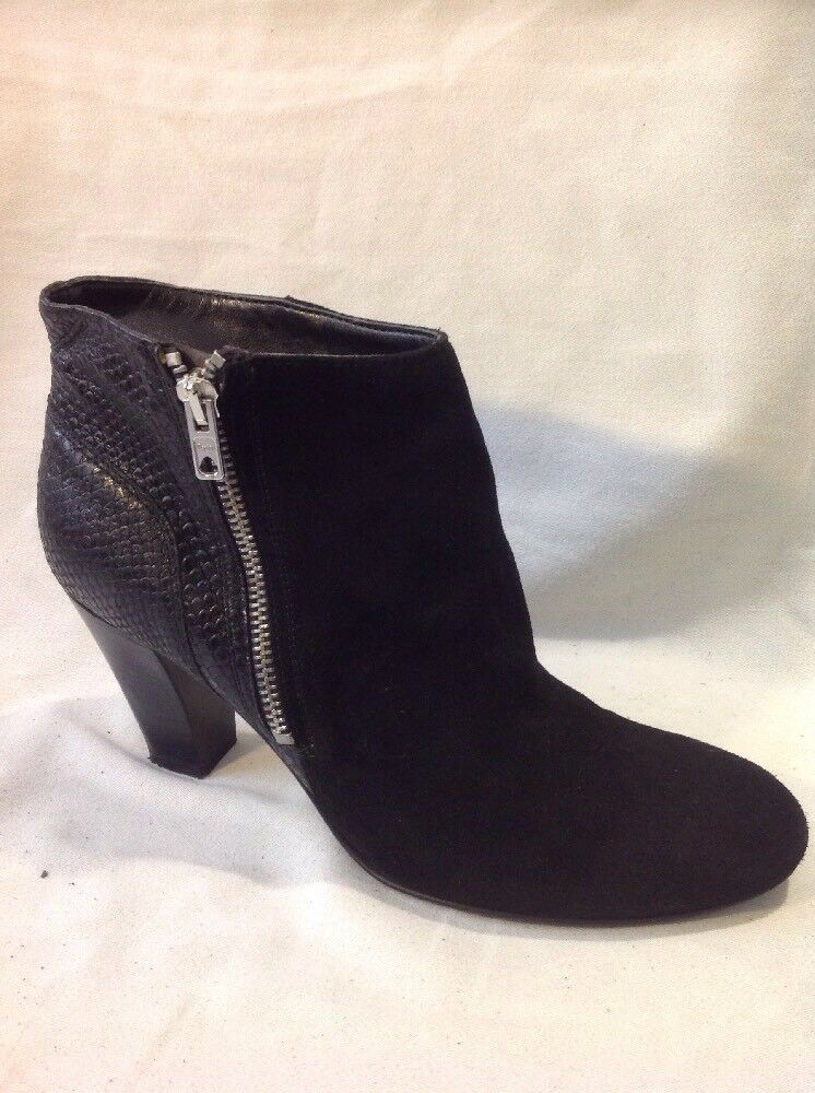 purple Black Ankle Leather Boots Size 6