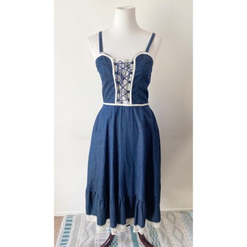 Gunne Sax Vintage Corset Denim Lace Dress - image 1