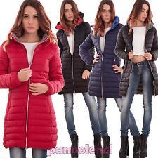 Piumino donna giacca zip imbottito giubbotto giacchetto tasche nuovo FD0107