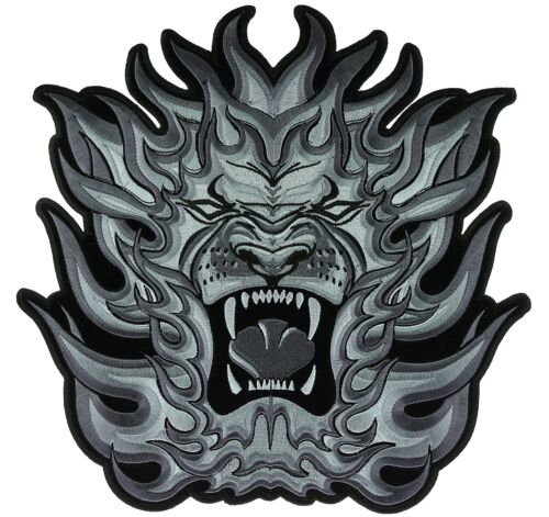 """Tribal Lion Flames Large Iron On Patch 4/"""" Black White FAST USA SHIPPING"""