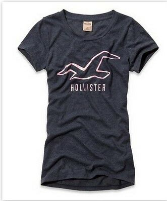 Hollister By Abercrombie Women's T Shirt Santa Monica Shine Glitter Logo Graphic