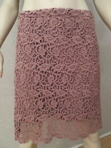 Free People Size M Skirt Cotton Lace Coca Color Knit Lined Boho NWOT