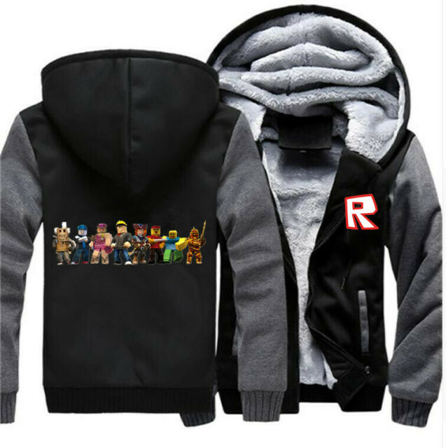 Game Roblox Hoodie Mens R Logo Fleece Jacket Harajuku Winter Thick