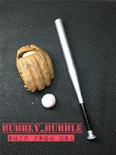 "1/6 Metal Baseball Bat Glove Ball Set For 12"" Hot Toys Figure ☆SHIP FROM USA☆"