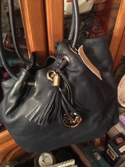 e727fd20b3f4 Michael Kors Fulton Large East West Leather Tote Bag Navy Blue 38s1xftt3l
