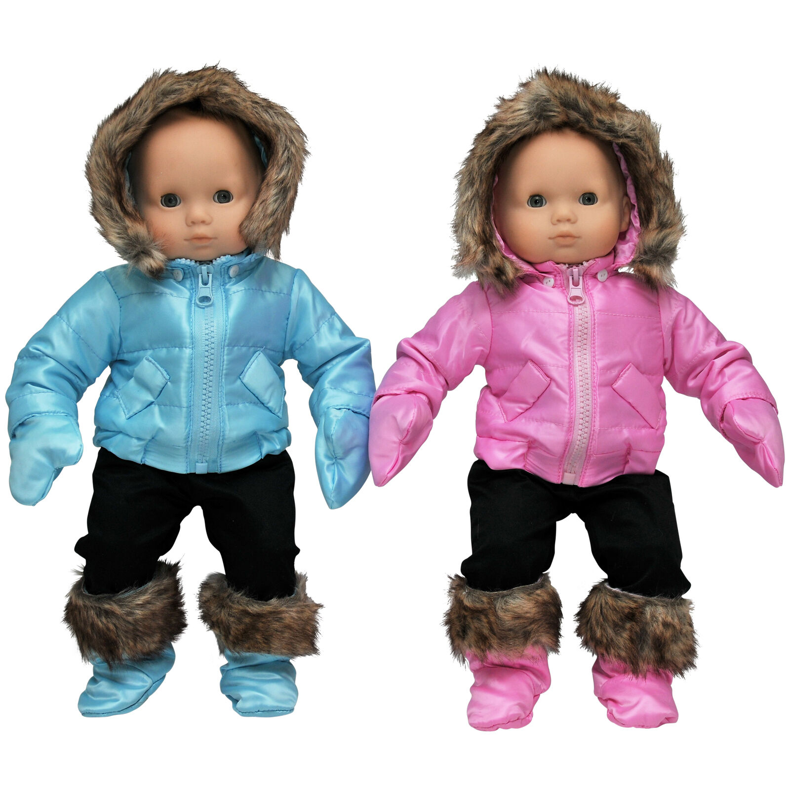 """Doll Clothes Made 2 Fit American Girl 15/"""" Baby Bitty Snow Suit 3pc White Fleece"""