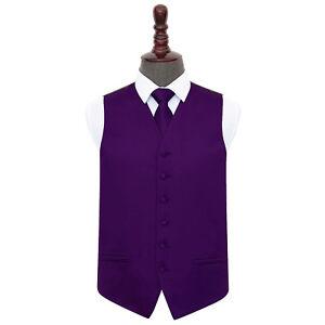 DQT-Satin-Plain-Solid-Purple-Mens-Wedding-Waistcoat-amp-Tie-Set-S-5XL