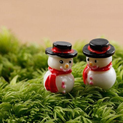 3x Christmas Snowman Figurines Decor Garden Statue Miniature Micro Landscape J/&C