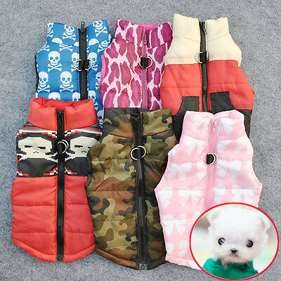 Warm Pets Cats Dogs Apparel Soft Padded Vest Jacket Small Puppy Coat Costume