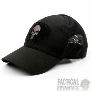 Punisher-Mesh-Panel-Black-Basecap-Betreiber-Hut-Airsoft-Military-UK