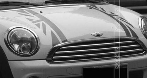 Union Jack Bonnet Stripes Car Hood Decor Trim Sticker Decal for Mini Cooper  Black UK Flag