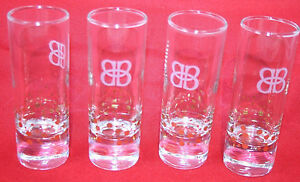 8 Baileys 2 oz Shot Glasses Tall Etched Logo Gold Confetti Weighted Bottom NEW