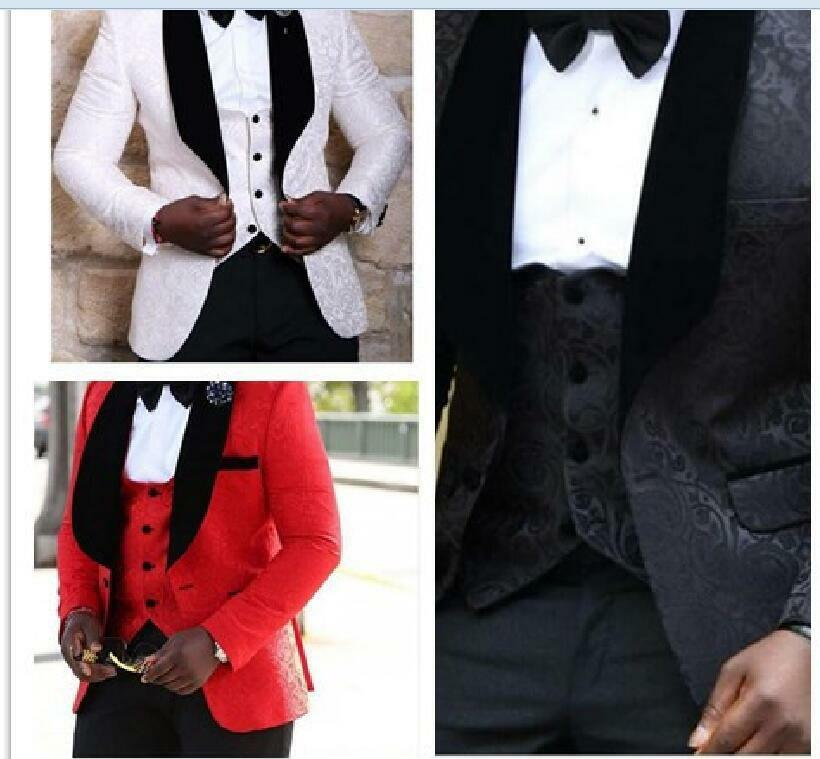 White Floral Mens Suits Wedding Groom Tuxedo Slim Groomsman Prom Suits 3 color
