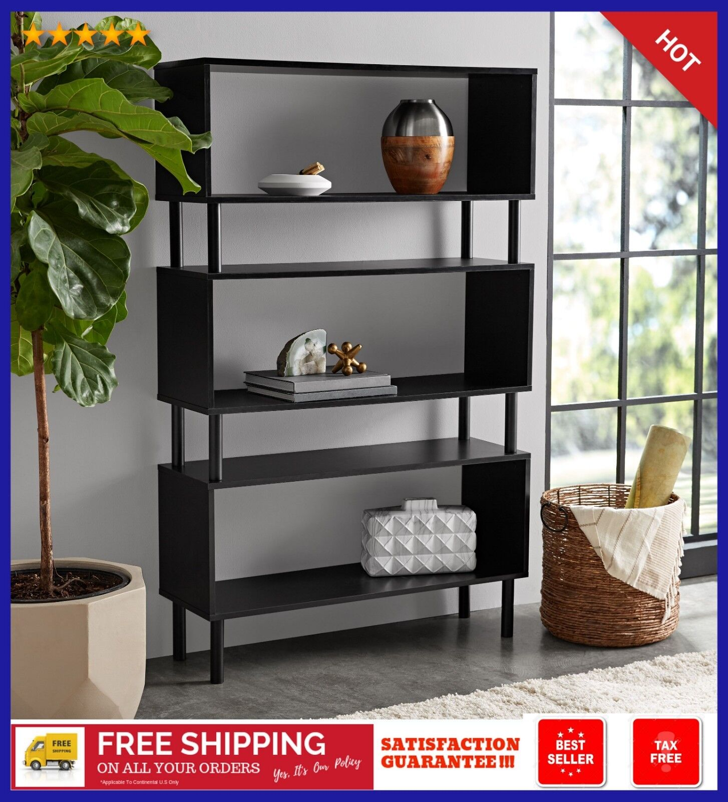 Details About Tall Bookcase Cubby Large Open Bookshelf Modern Cube 8 Shelf Display Book New