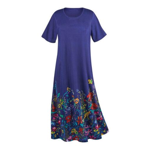 Long Royal Blue Short Sleeve Gown La Cera Women/'s Wildflowers T-Shirt Dress