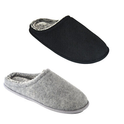 Coolers Mens Slip On Corduroy Faux Fur Lined Winter Warm Slippers Shoe Size 7-12