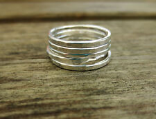 Set of Five Sterling Silver 1.5mm Hammered Stacking Rings