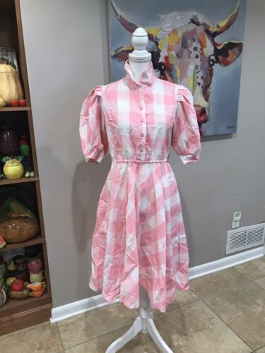 Vintage 50s Pink Gingham Check Cotton Day Dress by