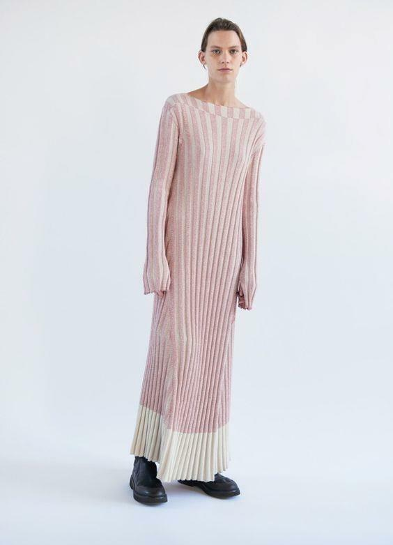 CELINE Ribbed Knit Sweater Dress Two Toned Phoebe Philo Spring 2017 M AUTH NWT