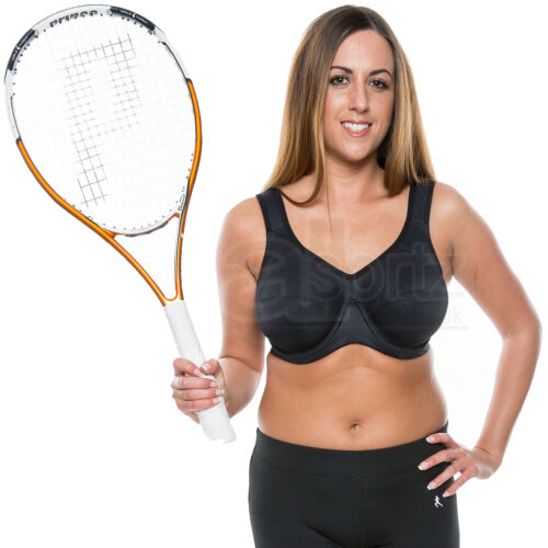 Black Full Cup Sports Bra High Impact Underwired Plus Size Ladies Running Gym
