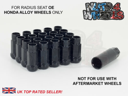 20 x Black GT50 Wheel Nuts M12x1.5 Fits Original OE Civic Type R Alloy Wheels