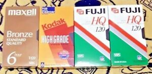 VHS-T-120-Tape-Lot-of-4-SEALED-Unopened-Blank