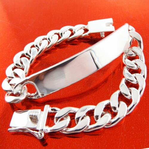 Mens ID Bracelet Bangle Real Sterling Silver S//F Solid Curb Initial Cuff Design