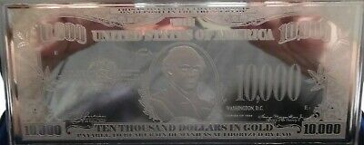 """VELVET BOX DISCOUNTED $10,000 /""""GOLD NOTE/"""" ~ PROOF 4oz CURRENCY UNC SILVER BAR"""