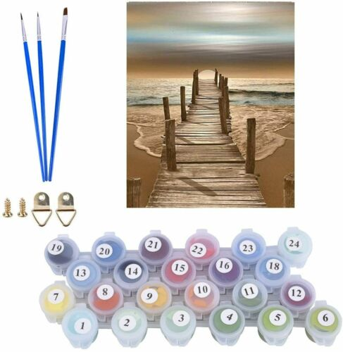 Paint by Numbers Kits Beach Sunset Seaside DIY Oil Painting Wall Decor 16x20In