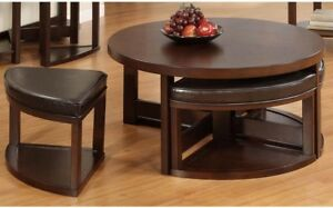 Fine Details About Weston Home Brussel Ii Round Brown Cherry Wood Coffee Table With 4 Ottomans Caraccident5 Cool Chair Designs And Ideas Caraccident5Info