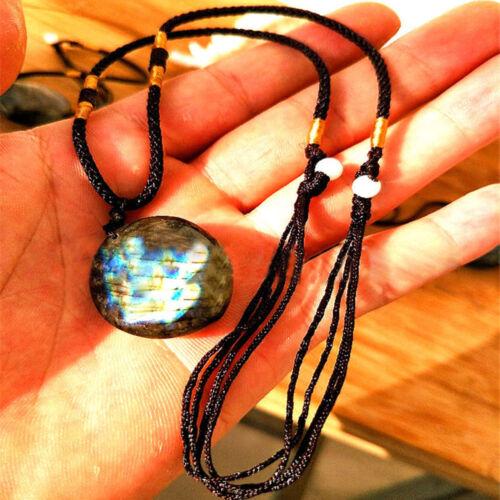 Natural Labradorite Moonstone Polished Pendant Necklace Charm Gemstone Jewelry