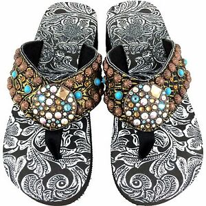 f73647d92c33e Image is loading Western-Leather-Strap-Bronze-Turquoise-Rhinestone-Concho- Flip-
