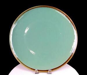 "STUDIO ART POTTERY GREEN DRIP GLAZE BROWN TRIM LARGE 15 7/8"" PLATTER"
