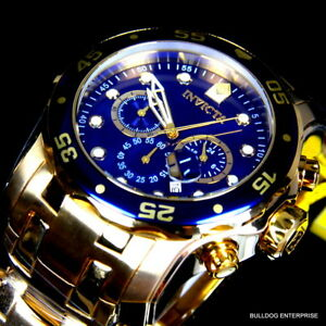 Mens-Invicta-Pro-Diver-Scuba-Blue-18kt-Gold-Plated-Steel-Chronograph-Watch-New