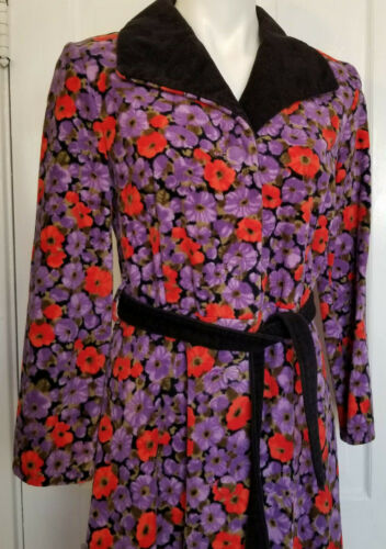 Vintage Poppy Flower Velour Terry Cloth Terrycloth
