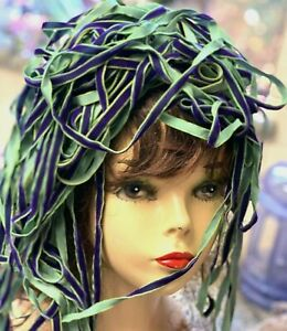 VINTAGE-1-4-034-VELVET-Rayon-ribbon-3yds-Purple-amp-Green-Made-in-France