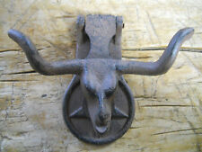Cast Iron Antique Style Rustic LONGHORN STEER Door Knocker Western Cowboy COW